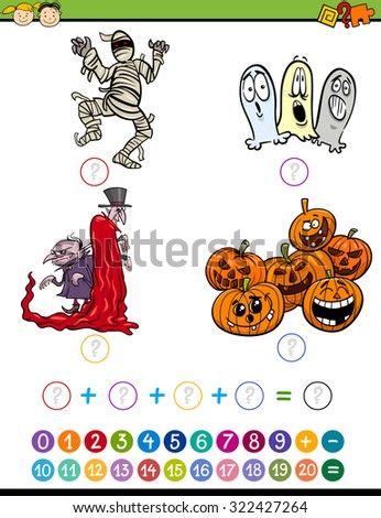 Cartoon Illustration of Education Mathematical Addition Task for Preschool Children with Halloween Characters - stock photo