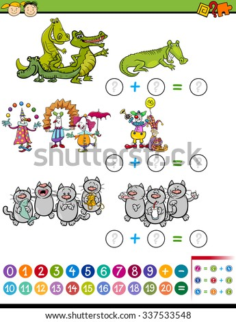 Cartoon Illustration of Education Mathematical Calculating Task for Preschool Children with Funny Characters - stock photo