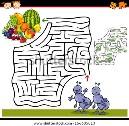 Cartoon Illustration of Education Maze or Labyrinth Game for Preschool Children with Funny Ants and Fruits