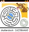 Cartoon Illustration of Education Maze or Labyrinth Game for Preschool Children with Funny Dog and Dog Bone - stock vector
