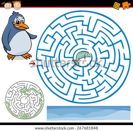 Cartoon Illustration of Education Maze or Labyrinth Game for Preschool Children with Funny Penguin and Fish - stock photo