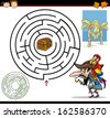 Cartoon Illustration of Education Maze or Labyrinth Game for Preschool Children with Funny Pirate with Parrot and Treasure - stock vector