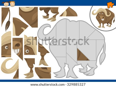 Cartoon Illustration of Educational Jigsaw Puzzle Task for Preschool Children with African Buffalo Animal Character