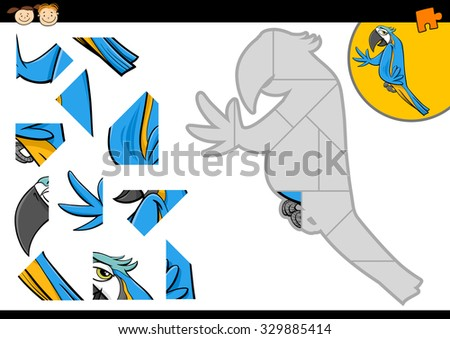 Cartoon Illustration of Educational Jigsaw Puzzle Task for Preschool Children with Macaw Bird Animal Character