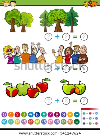 Cartoon Illustration of Educational Mathematical Addition Task for Preschoolers with Characters and Objects - stock photo