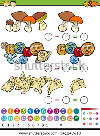 Cartoon Illustration of Educational Mathematical Subtraction Task for Preschool Children