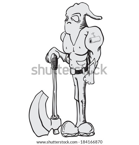 cartoon illustration of executioner with an axe - stock photo