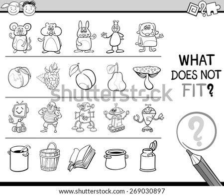 Cartoon Illustration of Finding Improper Item Educational Game for Preschool Children