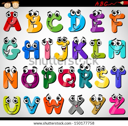 Cartoon Illustration of Funny Capital Letters Alphabet for Children Education - stock photo