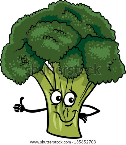Cartoon Illustration of Funny Comic Broccoli Vegetable Food Character
