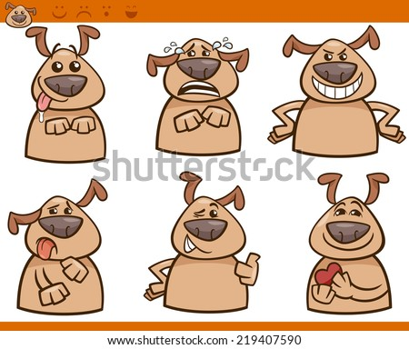 Cartoon Illustration of Funny Dogs Expressing Emotions Set - stock photo