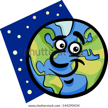 Cartoon Illustration of Funny Earth Planet Comic Mascot Character - stock photo