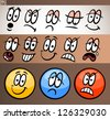 Cartoon Illustration of Funny Emoticon or Emotions and Expressions like Sad, Happy, Angry or Skeptic - stock vector