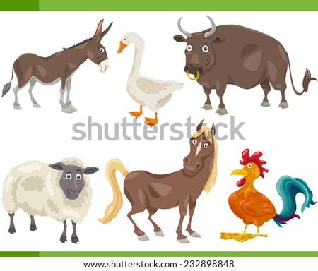 Cartoon Illustration of Funny Farm Animals Set - stock photo