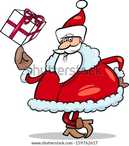 Cartoon Illustration of Funny Santa Claus Character with Christmas Present