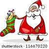 Cartoon Illustration of Funny Santa Claus or Papa Noel with Big Sock full of Christmas Presents or Gifts - stock vector