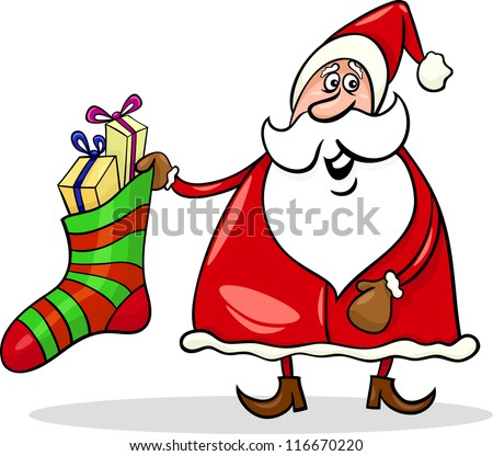 Cartoon Illustration of Funny Santa Claus or Papa Noel with Big Sock full of Christmas Presents or Gifts