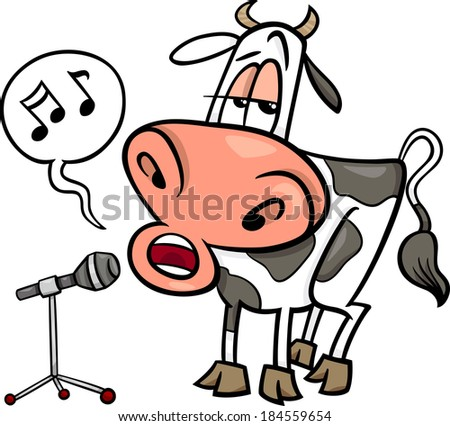 Cartoon Illustration of Funny Singing Cow Character