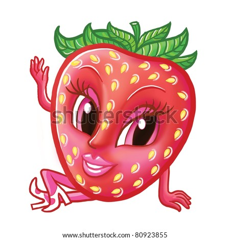 Cartoon illustration of funny strawberry with smiling face - stock photo