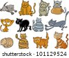 cartoon illustration of funny twelve cats set - stock vector