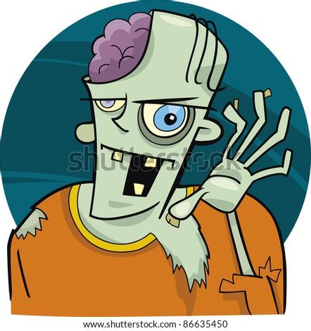 cartoon illustration of funny zombie - stock photo