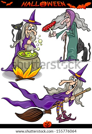 Cartoon Illustration of Halloween Holiday Themes like Witch on Broom or Black Cat