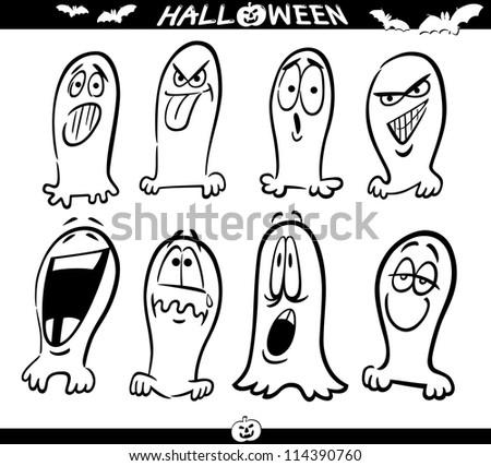 cartoon illustration halloween themes ghosts emotions stock