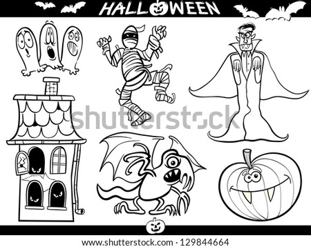 Cartoon Illustration of Halloween Themes, Vampire or Count Dracula, Mummy, Haunted House, Basilisk or Monster, Pumpkin and Ghosts Set for Coloring Book or Page - stock photo