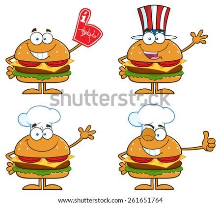 Cartoon Illustration Of Hamburger Characters 3. Raster Collection Set Isolated On White - stock photo