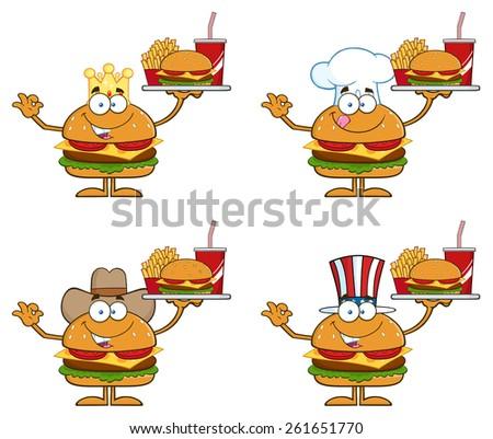 Cartoon Illustration Of Hamburger Characters 2. Raster Collection Set Isolated On White - stock photo