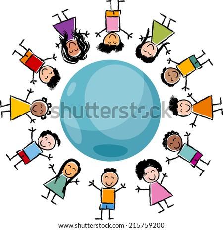 Cartoon Illustration of Happy Multicultural Children around the Globe - stock photo