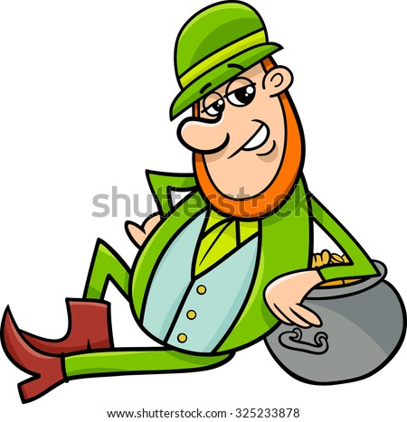 Cartoon Illustration of Leprechaun and Pot of Gold on Saint Patrick Day