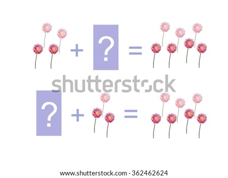 Cartoon illustration of mathematical addition. Examples with flowers. Educational game for children. - stock photo