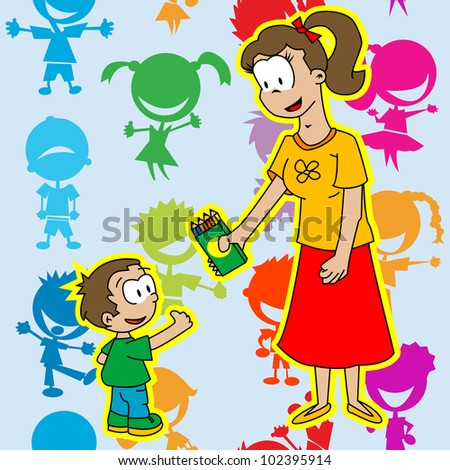 cartoon illustration of mom is giving to her son pack of colored pencils on colorful background