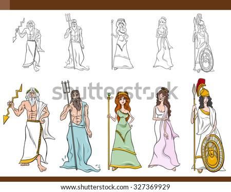 cartoon illustration mythological greek gods goddesses stock rh shutterstock com