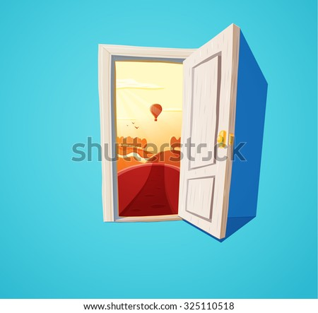 Cartoon illustration of open door and sunset fantasy nature. Freedom concept. Rasterized version - stock photo