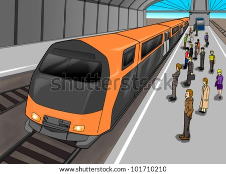 Cartoon illustration of people waiting at the train station - stock photo