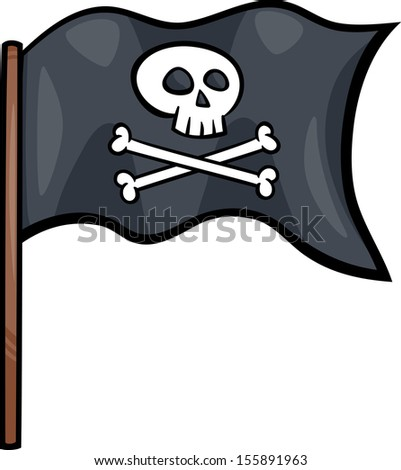 Cartoon Illustration of Pirate Flag with Skull and Bones or Jolly Roger Object Clip Art