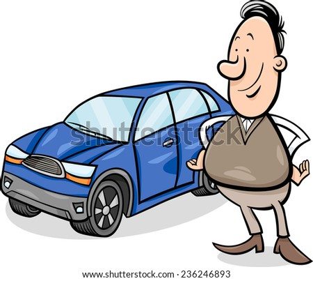 Cartoon Illustration of Proud Man and his New Car