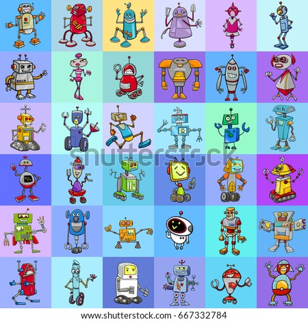 Cartoon Illustration of Robots Fantasy Characters Pattern or Decorative Paper Design