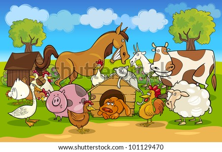 cartoon illustration of rural scene with farm animals group - stock photo