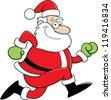 Cartoon illustration of Santa Claus running. - stock vector