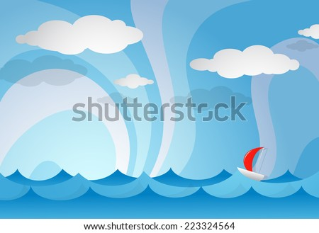 Cartoon illustration of sea view with yacht - stock photo