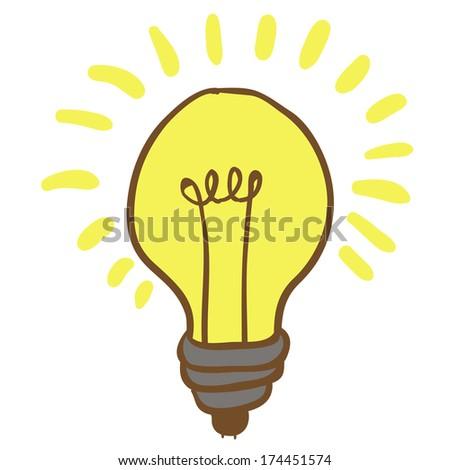 cartoon illustration of shiny hand drawn lightbulb - stock photo