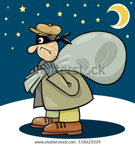 Cartoon Illustration of Thief with Sack at Night - stock photo