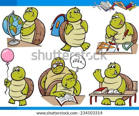 Cartoon Illustration of Turtle Animal Character School Student Set - stock photo