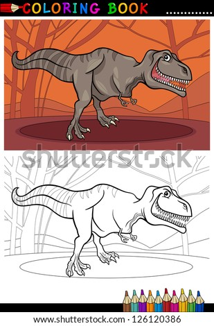 Cartoon Illustration of Tyrannosaurus Rex Dinosaur Reptile Species in Prehistoric World for Coloring Book and Education