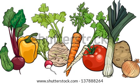 Cartoon Illustration of Vegetables Food Object Big Group - stock photo