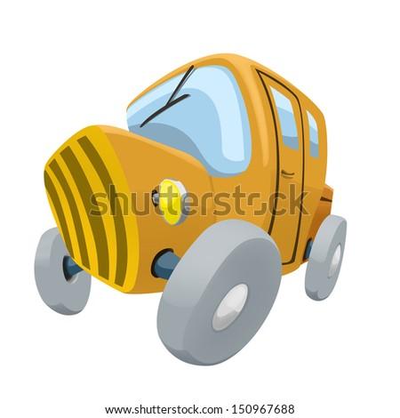 cartoon illustration of yellow old car - stock photo