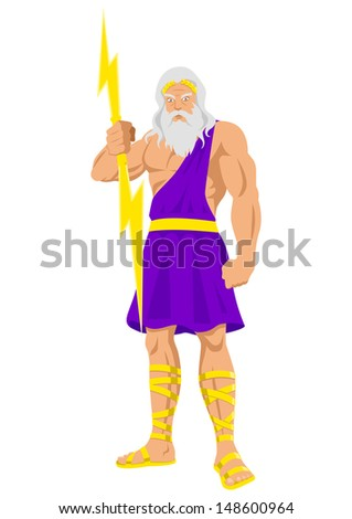 Cartoon illustration of Zeus, the Father of Gods and men - stock photo